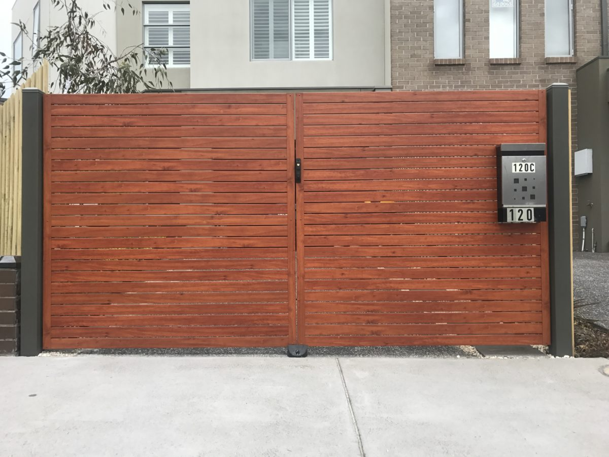 Superb img of australian cedar and woodland grey aliscreen driveway gates 4 with #8B4D38 color and 1200x900 pixels